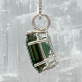 Siberian Green Earth Heart Pendant Set in Sterling Silver