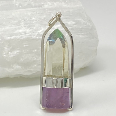 """The Flame"" Pale Congo Citrine and Amethyst & Dichroic Glass Set in Sterling Silver"