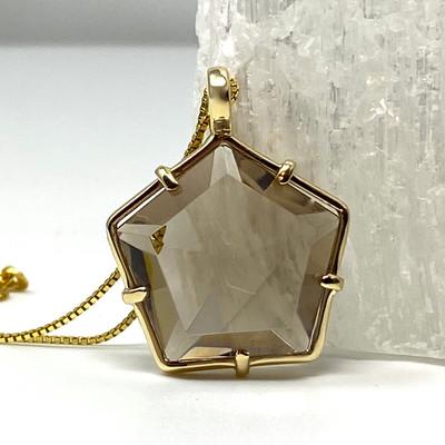 Star of Light Pendant with Smoky Quartz Set in 14K Gold