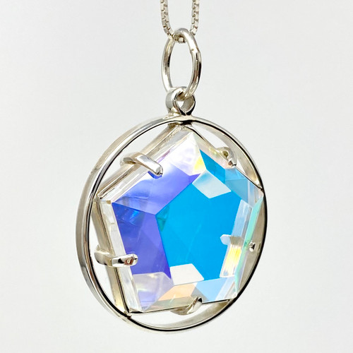 Circle Star of Light Pendant with Clear Quartz and Dichroic Glass