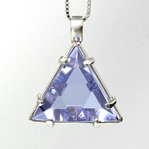 Lavender Quartz Vogel Crystal Star of David Pendant, Sterling Silver,small