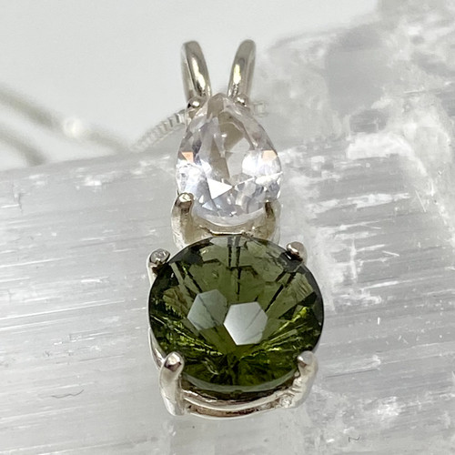 Moldavite Super Nova ™ with Danburite set in Sterling Silver