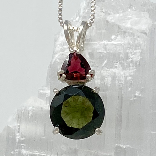 Natural Moldavite Round with Red Tourmaline Trillion Set in Sterling Silver