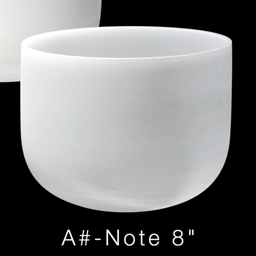 """Premium Frosted Crystal Singing Bowl, Perfect Pitch A#-Note 8"""" 432 Hz"""