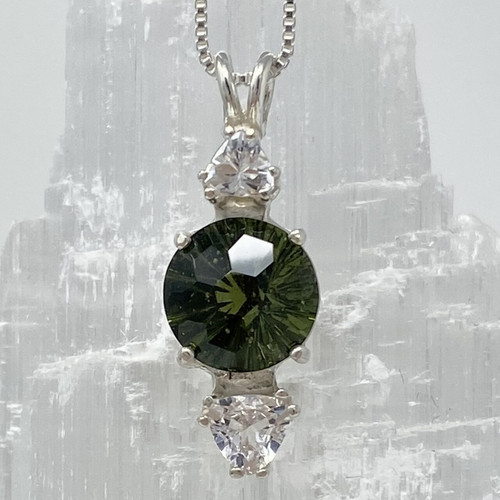 Power Trio, Moldavite, Danburite and Phenacite Pendant set in Sterling Silver