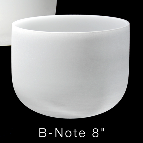 """Premium Frosted Crystal Singing Bowl, Perfect Pitch, B-Note 8"""""""