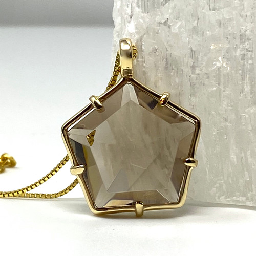 Star of Light Pendant with Smoky Quartz Set in 14K Gold