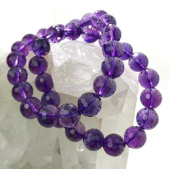 Amethyst Quartz Crystal Finely-Faceted Bracelet