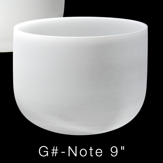 """G#-Note 9"""" Perfect Pitch 432 Hz Premium Frosted Crystal Singing Bowl"""