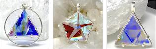 Clear Quartz & Dichroic Glass Pendants