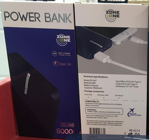 Zone (Z0-043) 8000 MAH (Power Bank) Type C Output Dual USB  (Blue)