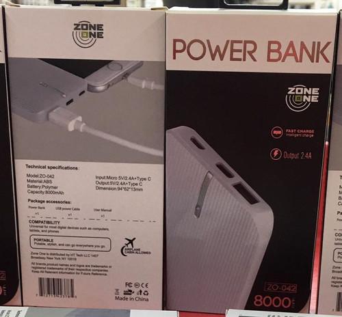 Zone (Z0-042) 8000 MAH (Power Bank) Type C Output Dual USB  (White)