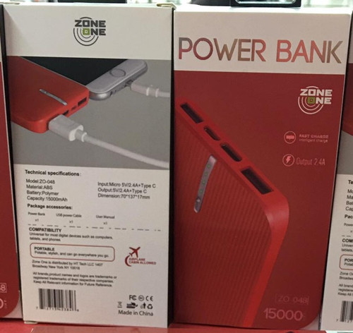 Zone (Z0-048) 15000 MAH (Power Bank) Type C Output Dual USB  (Red)