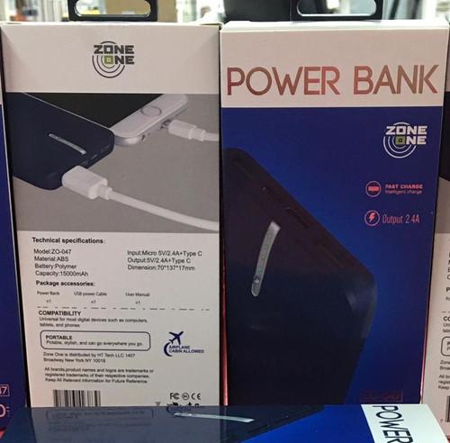 Zone (Z0-047) 15000 MAH (Power Bank) Type C Output Dual USB  (Blue)