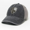 Black Leather Trucker - Shield Cap
