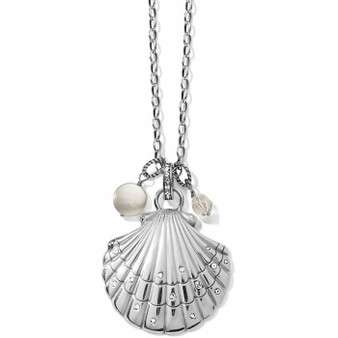 Brighton Sea Shore Scallop Shell Convertible Necklace in Silver-Pearl