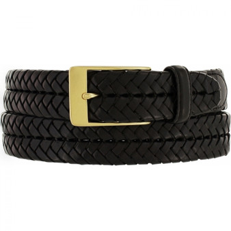 Brighton Men's New Milan Woven Brass Belt in Black