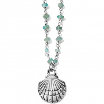 Brighton Sea Shore Petite Shell Necklace in Silver-Blue