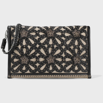Brighton Elaine Clutch in Black-Natural