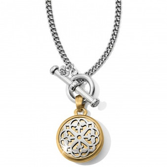 Brighton Ferrara Two Tone Locket Necklace in Silver-Gold