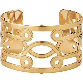 Brighton Christo Lima Wide Cuff Bracelet in Gold