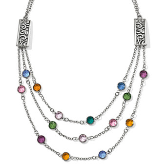 Brighton Elora Gems Multi Layer Necklace in Silver Multi