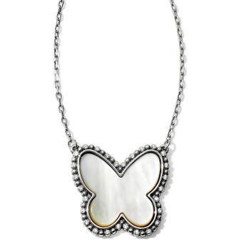 Brighton Twinkle Volar Necklace in Silver-Pearl