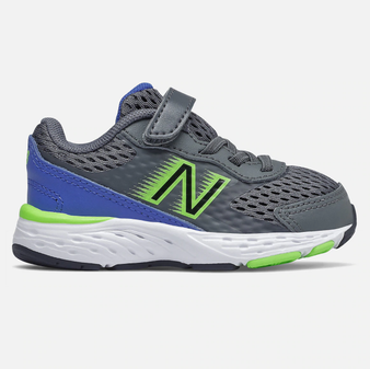 New Balance Toddler's Bungee Lace 680v6 in Lead Multi