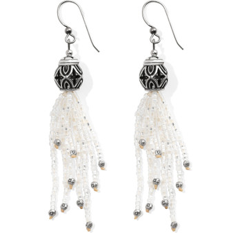 Brighton Boho Mix Tassel French Wire Earrings in Silver-White