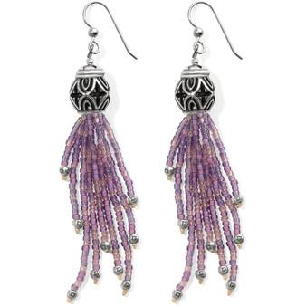 Brighton Boho Mix Tassel French Wire Earrings in Silver-Purple