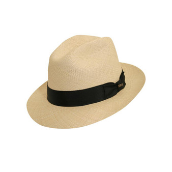 Scala Men's Panama Fedora Hat Napa in Natural
