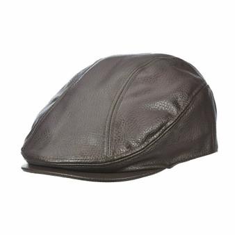 Dorfman Pacific Men's Brown Faux Leather Ivy Cap MC320