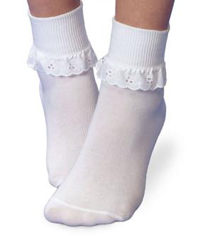 Jefferies Socks Eyelet Lace Easter Socks 1 Pair in White