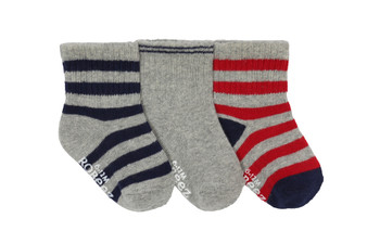 Robeez Boy's Daily Dave Socks in Grey, 3 Pack