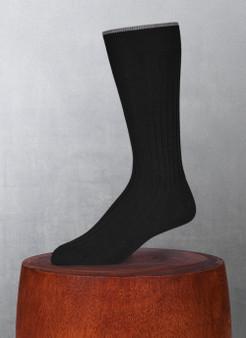 Lorenzo Uomo Men's Softest Solid Merino Wool Sock in Black