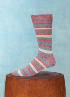Lorenzo Uomo Men's Afromood Multi Stripe Sock in Red