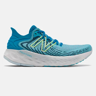 New Balance Women's Fresh Foam 1080v11 in  Virtual sky with bleached lime glo