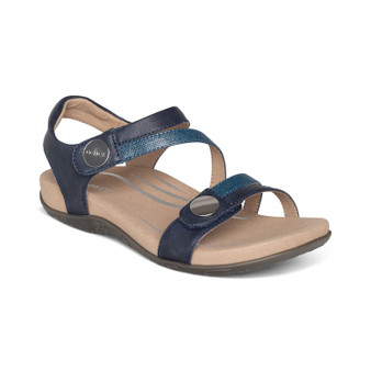 Aetrex Women's Jess Adjustable Quarter Strap Sandal in Navy