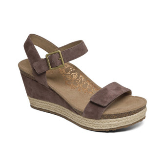 Aetrex Women's Sydney Quarter Strap Espadrille Wedge in Deep Taupe