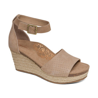 Aetrex Women's Miley Ankle Strap Espadrille Wedge in Light Tan