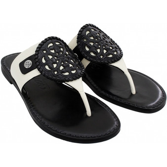 Brighton Women's Ferrara Alexa Thongs Sandals in Black-White