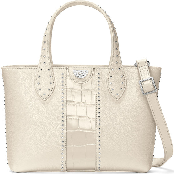 Brighton Pretty Tough Zoey Small Convertible Tote in White Croco