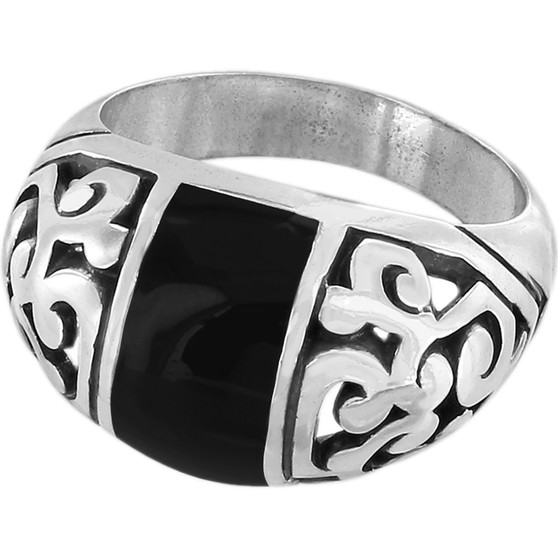 Brighton Catania Ring in Silver-Black