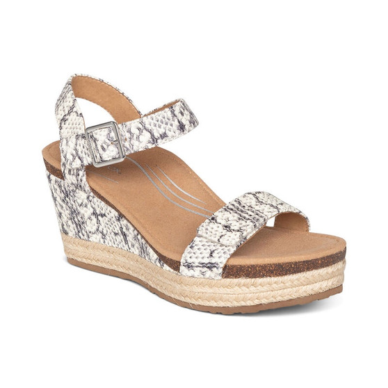 Aetrex Women's Sydney Quarter Strap Espadrille Wedge in Snake