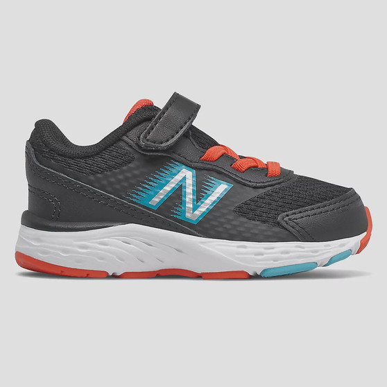New Balance Toddler's Bungee Lace 680v6 in Black with Ghost Pepper