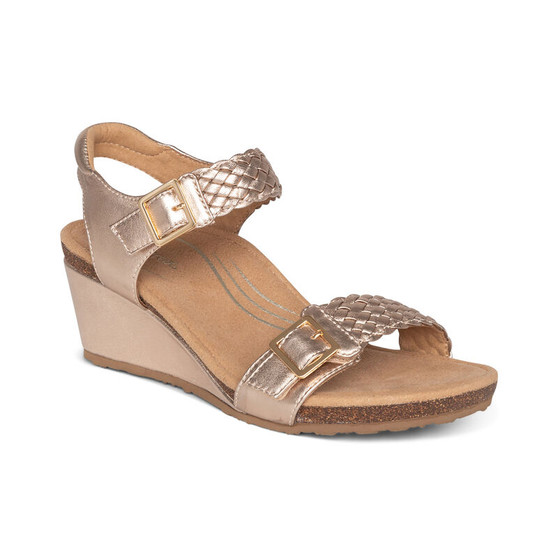 Aetrex Women's Grace Adjustable Woven Wedge in Rose Gold