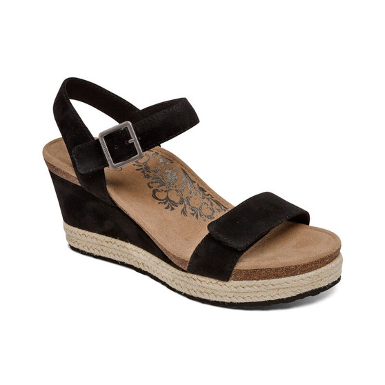 Aetrex Women's Sydney Quarter Strap Espadrille Wedge in Black