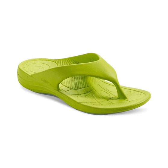 Aetrex Women's Maui Orthotic Flip Flops in Lime