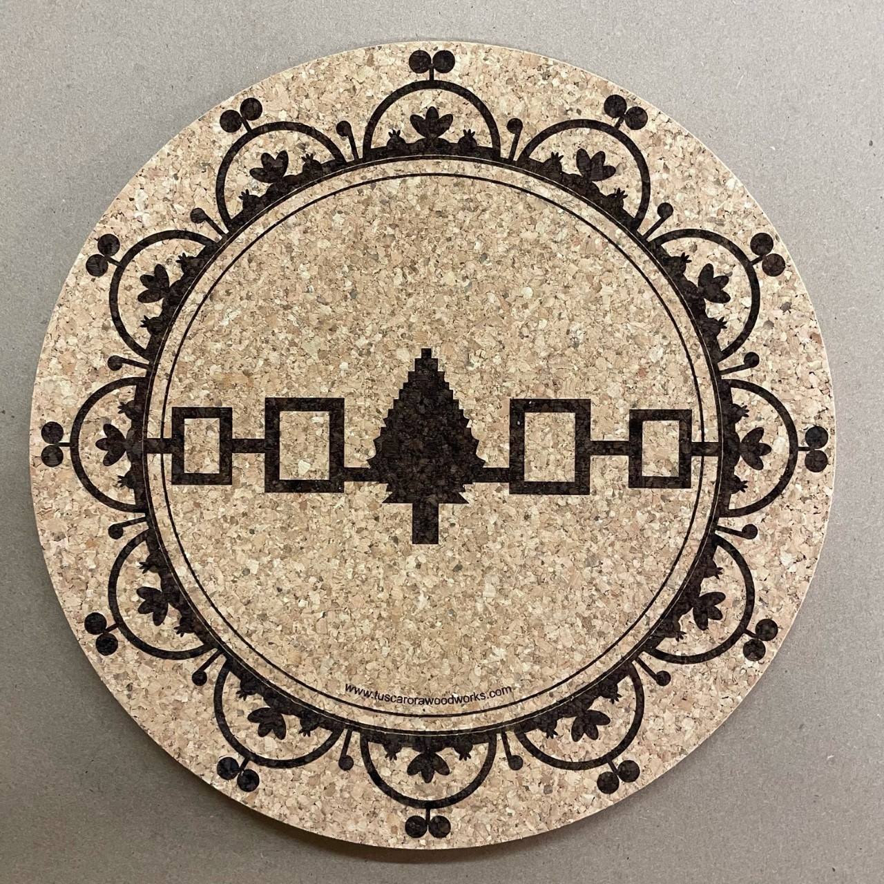 Cork Trivet Hot Plate With Hiawatha Belt And Celestial Domes Tuscarora Woodworks