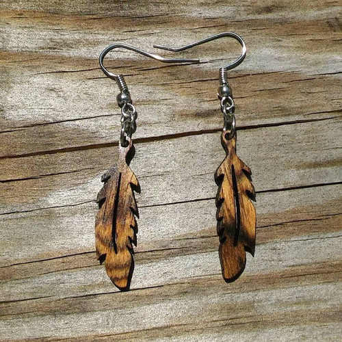 Wooden Feather Earrings